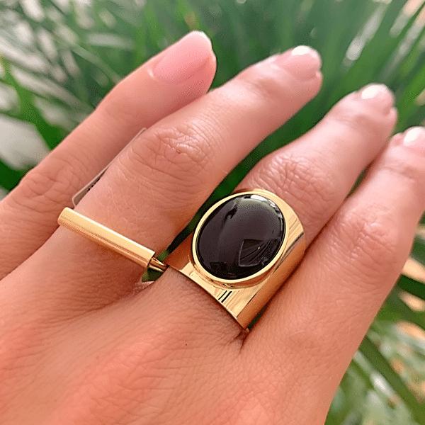 Made by Mila | Verstelbare gouden Onyx ring- ZAG Bijoux 2