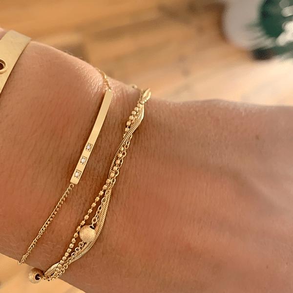 Made by Mila | Armband goud drie kettinkjes divers - ZAG Bijoux 3