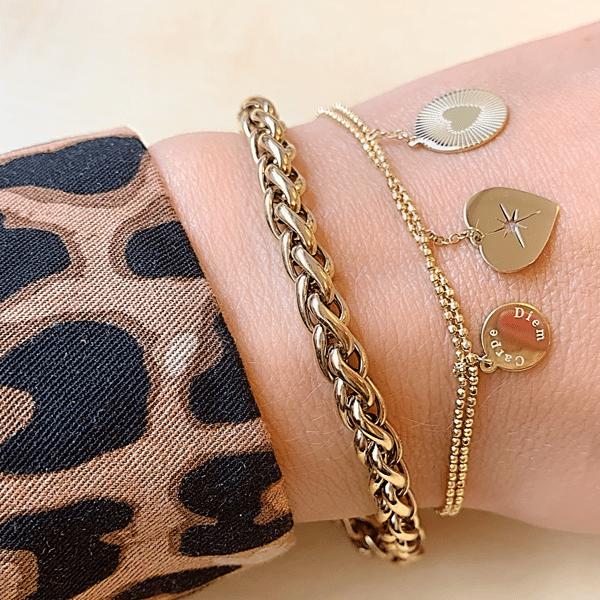 Made by Mila   Armband dubbele armband carpe diem goud - ZAG Bijoux 2