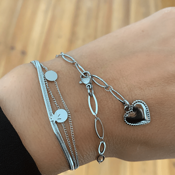Made by Mila | Armband medium schakel zilver hartje- Go Dutch Label 2