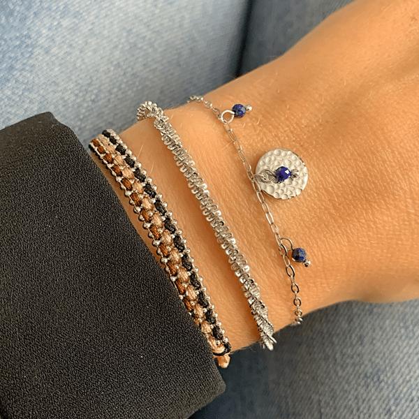 Made by Mila | Armband rondje zilver & blauw- Go Dutch label 2