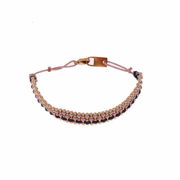 Made by Mila | Armband gevlochten goud roze en blauw- Go Dutch label 1