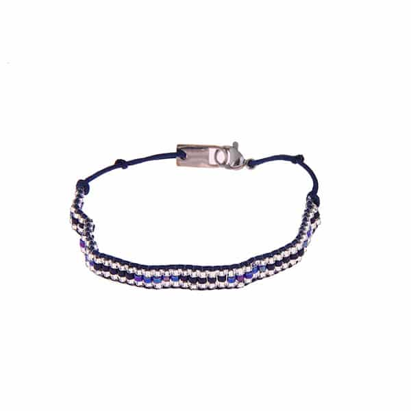 Made by Mila | Armband kraaltjes blauw zilver - Go Dutch Label 1