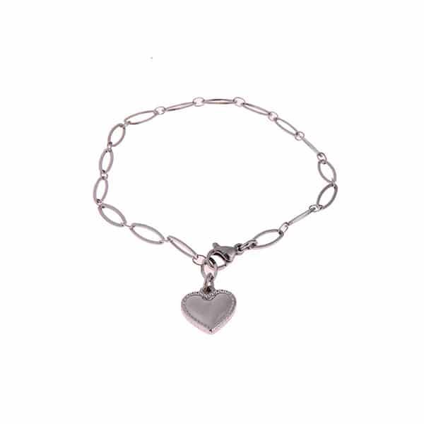 Made by Mila | Armband medium schakel zilver hartje- Go Dutch Label 1