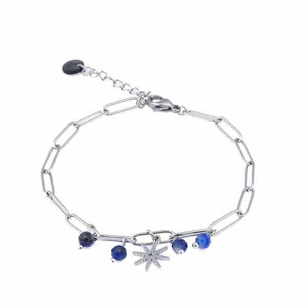 Made by Mila | Armband schakel zilver blauwe steen - Go Dutch Label 1