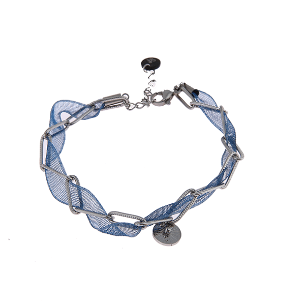 Made by Mila | Armband schakel zilver blauw lint - Go Dutch Label 1