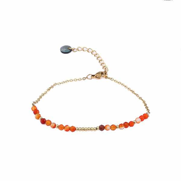 Made by Mila | Armband stones goud oranje- Go Dutch label 1