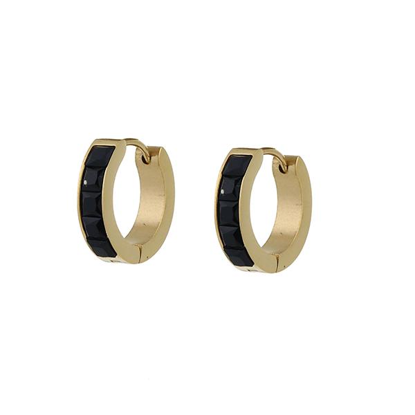 Made by Mila | Oorbellen hoops goud 18 mm zwart- Go Dutch Label 1
