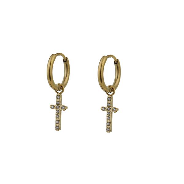 Made by Mila | Oorbellen hoops kruisje zirkonia goud - Go Dutch Label 1