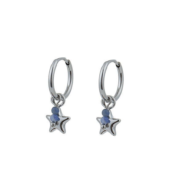 Made by Mila | Oorbellen hoops stars & stones zilver - Go Dutch Label 1