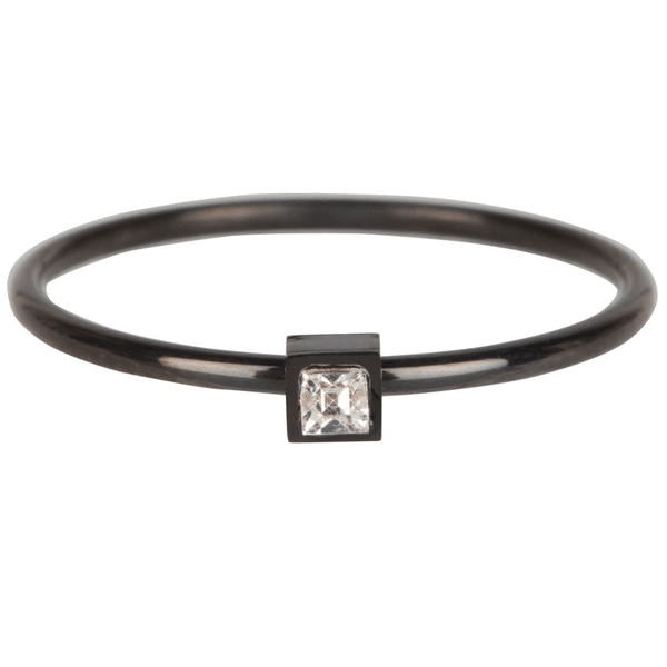 Made by Mila | Ring zwart 'Stylish Square Steel Crystal CZ' - Charmin's 1