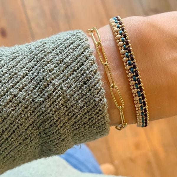 Made by Mila | Armband gevlochten goud groen en roze- Go Dutch label 1
