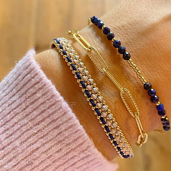 Made by Mila | Armband gevlochten goud roze en blauw- Go Dutch label 2