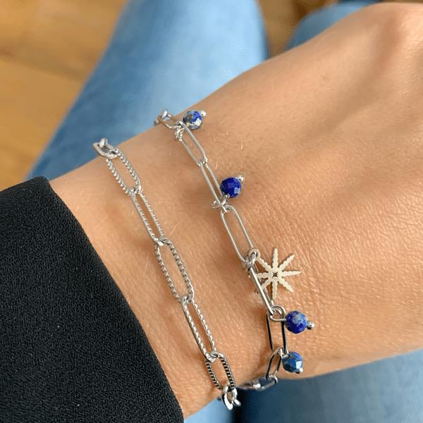 Made by Mila | Armband schakel zilver blauwe steen - Go Dutch Label 2