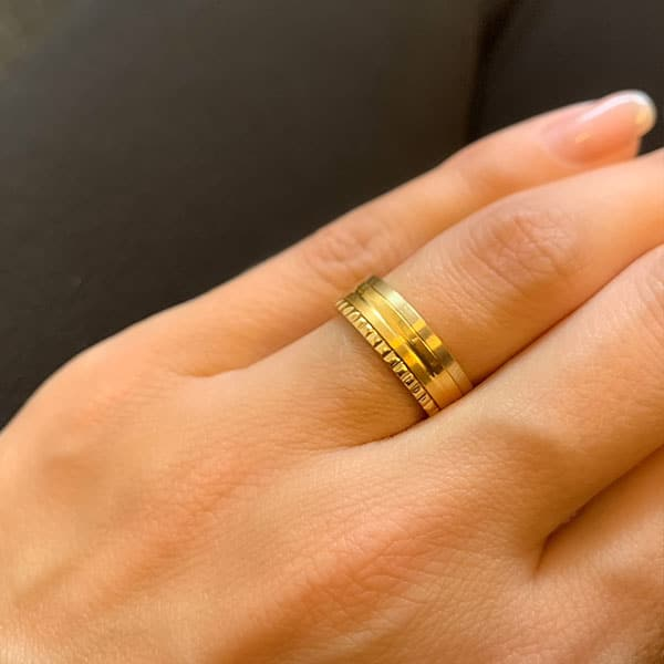 Made by Mila | Ring goud 'Matt & Shiny' - Charmin's 2