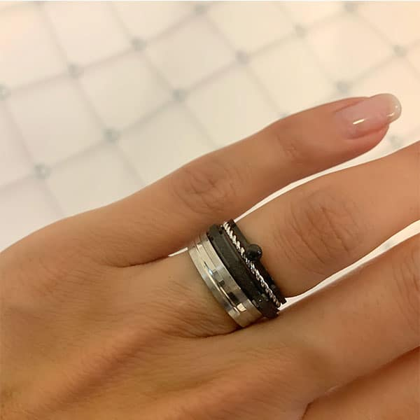 Made by Mila | Ring zilver 'Matt & Shiny' - Charmin's 2