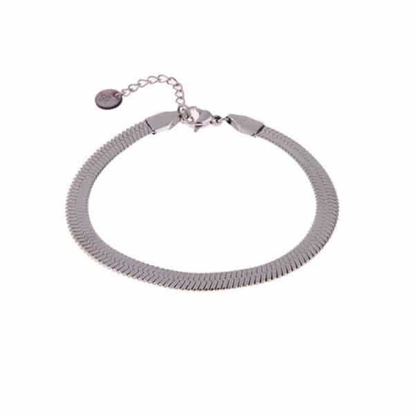 Made by Mila | Armband zilver snake enkel- Go Dutch label 1