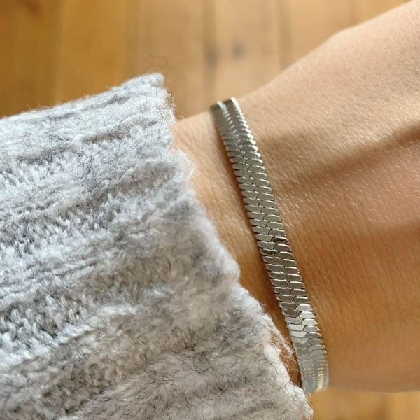 Made by Mila | Armband zilver snake enkel- Go Dutch label 2
