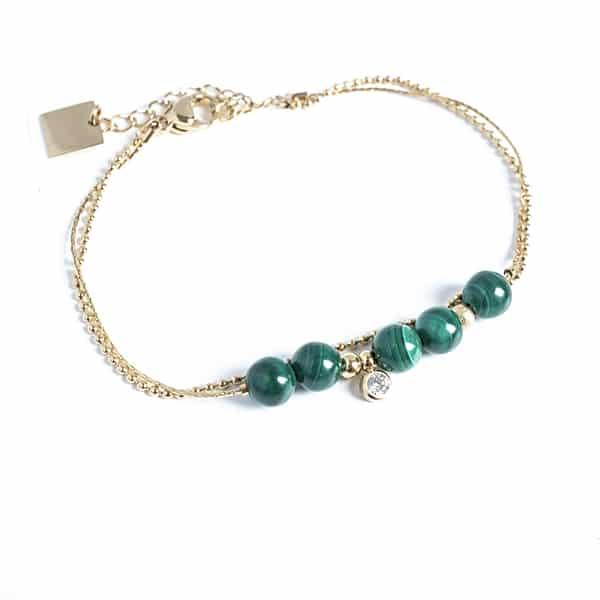 Made by Mila | Armband dubbel goud en groen - ZAG Bijoux 1