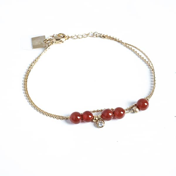 Made by Mila | Armband dubbel goud en rood - ZAG Bijoux 1