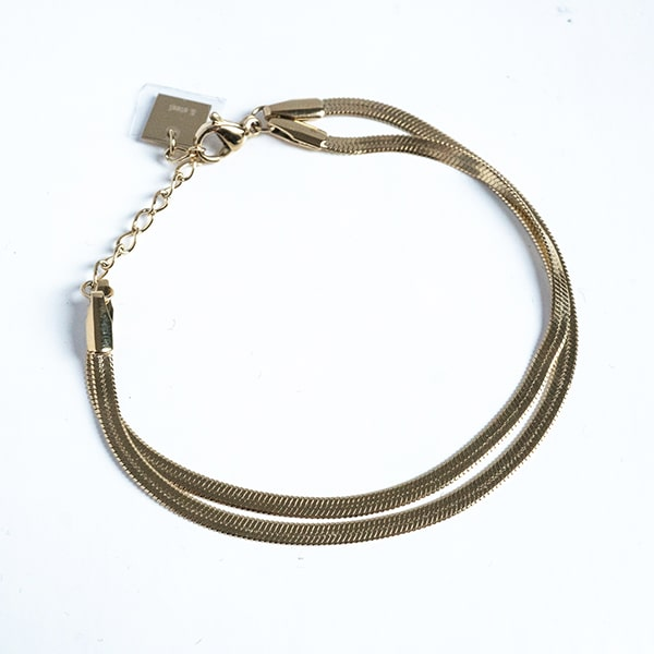 Made by Mila | Armband dubbel snake goud  - ZAG Bijoux 1