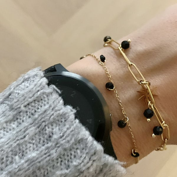 Made by Mila | Armband schakel goud zwarte steen - Go Dutch Label 1