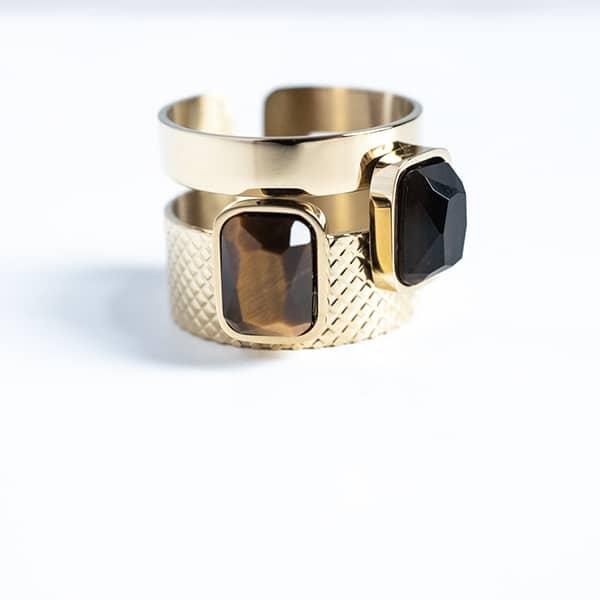 Made by Mila | Verstelbare gouden ring dubbel- ZAG Bijoux 1