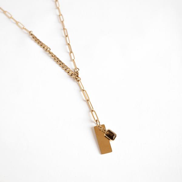 Made by Mila | Ketting schakel lang quartz fume- ZAG Bijoux 1