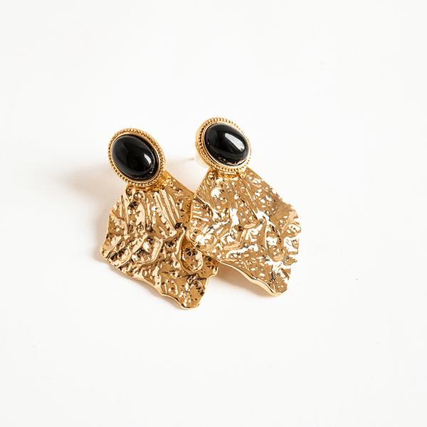 Made by Mila | Oorbellen goud gehamerd onyx- ZAG Bijoux 1