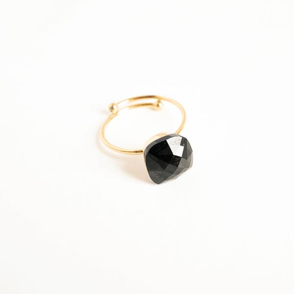 Made by Mila | Verstelbare ring zwarte steen- ZAG Bijoux 1