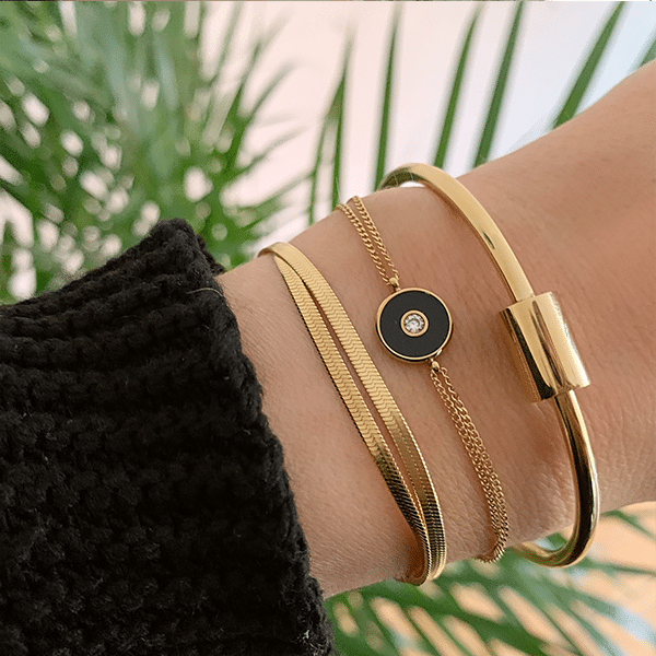 Made by Mila | Armband dubbel snake goud  - ZAG Bijoux 2