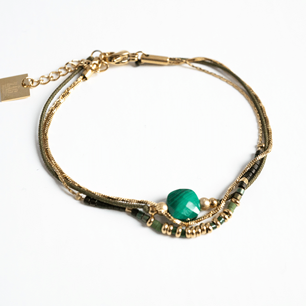 Made by Mila | Armband dubbel green malachite - ZAG Bijoux 1
