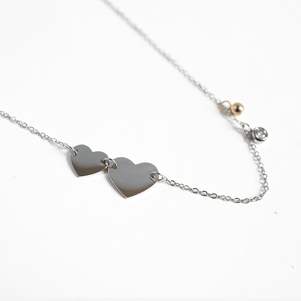 Made by Mila | Ketting hearts zilver - ZAG Bijoux 1