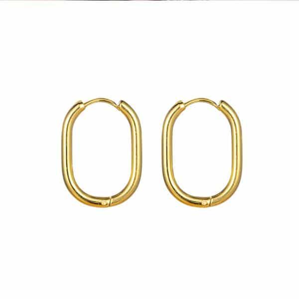 Made by Mila | Oorbellen ovale hoops goud - Go Dutch Label 1