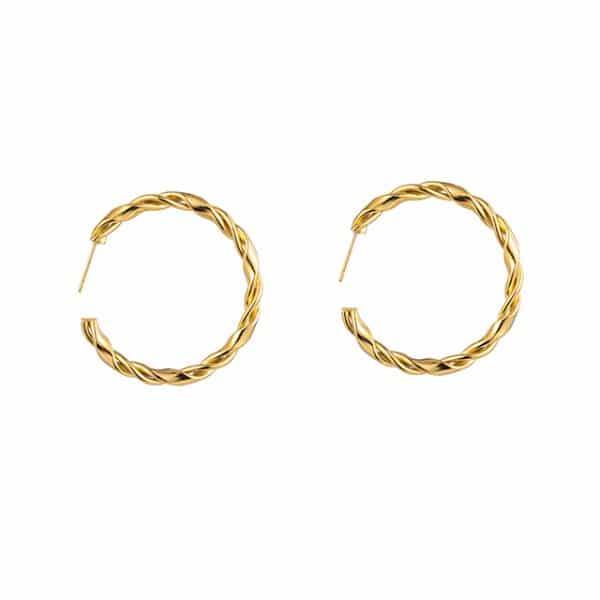 Made by Mila | Oorbellen hoops twisted goud - Go Dutch Label 1