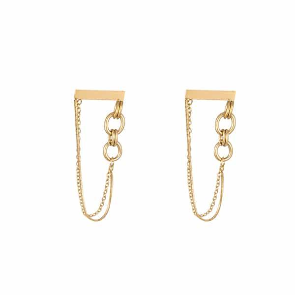 Made by Mila | Oorbellen hanger chains goud - Go Dutch Label 1
