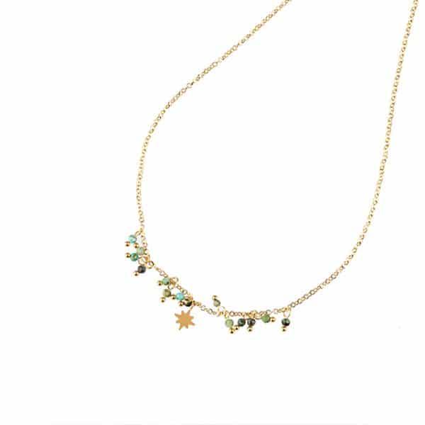 Made by Mila | Ketting star & stones green - Go Dutch Label 1