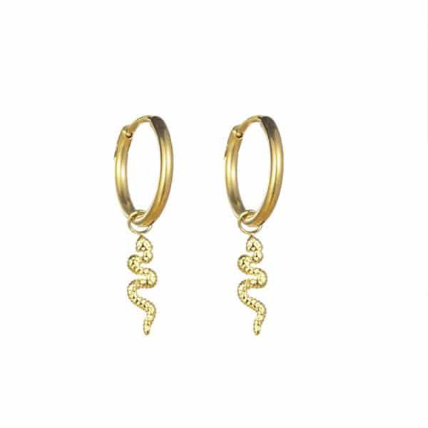 Made by Mila | Oorbellen hoops snake goud - Go Dutch Label 1