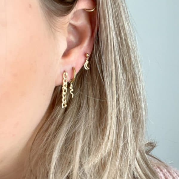 Made by Mila | Oorbellen steker moon goud - Go Dutch Label 3