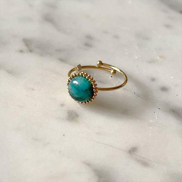 Made by Mila | Verstelbare ring goud met groene steen- ZAG Bijoux 1
