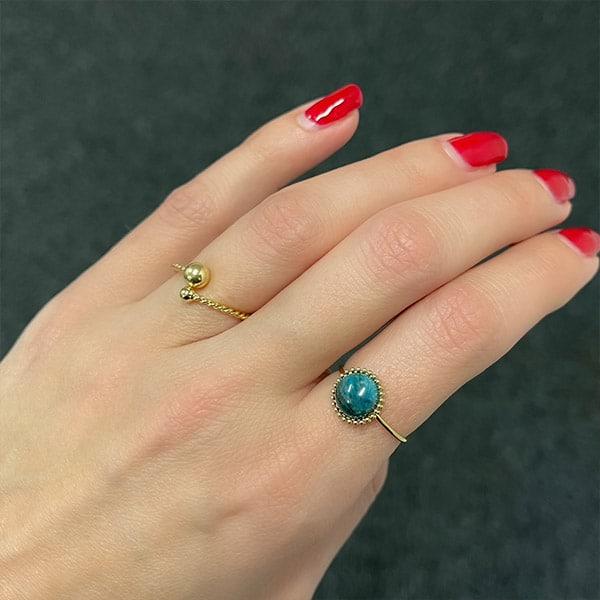 Made by Mila | Verstelbare ring goud met groene steen- ZAG Bijoux 2