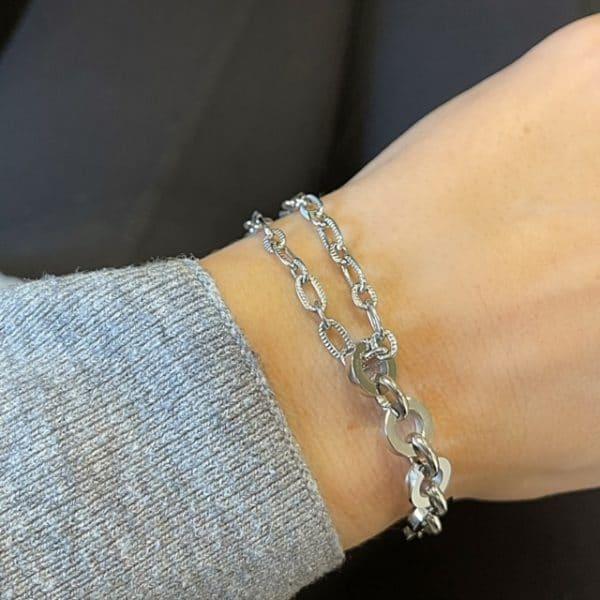 Made by Mila | Armband schakel dubbel zilver grof- Go Dutch label 2