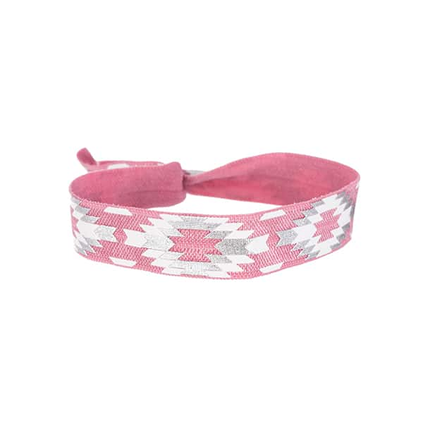Made by Mila | Armband elastisch print wit roze- Go Dutch label 1