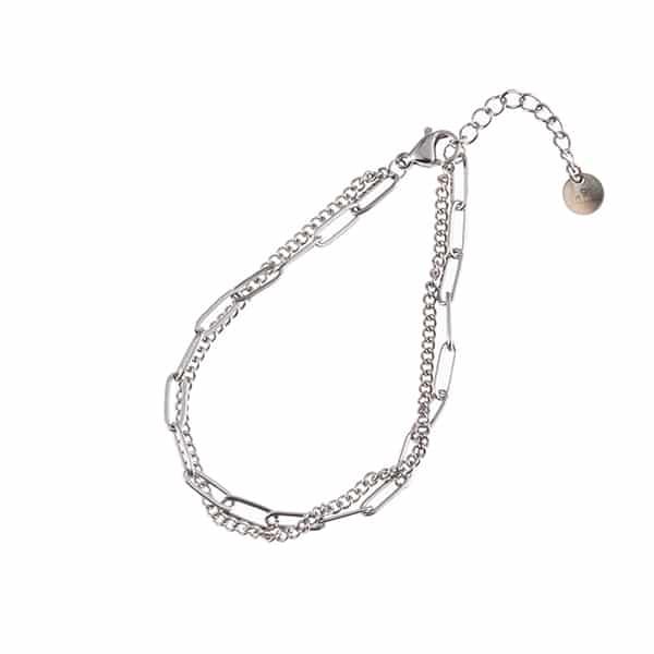 Made by Mila | Armband schakel dubbel zilver- Go Dutch label 1