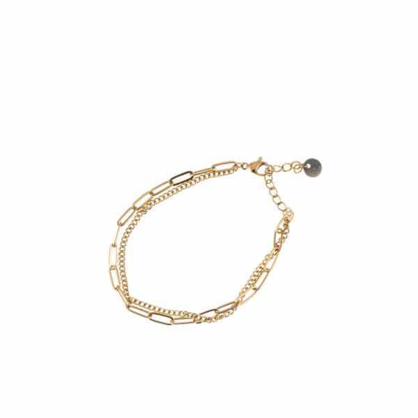 Made by Mila | Armband schakel dubbel goud- Go Dutch label 1