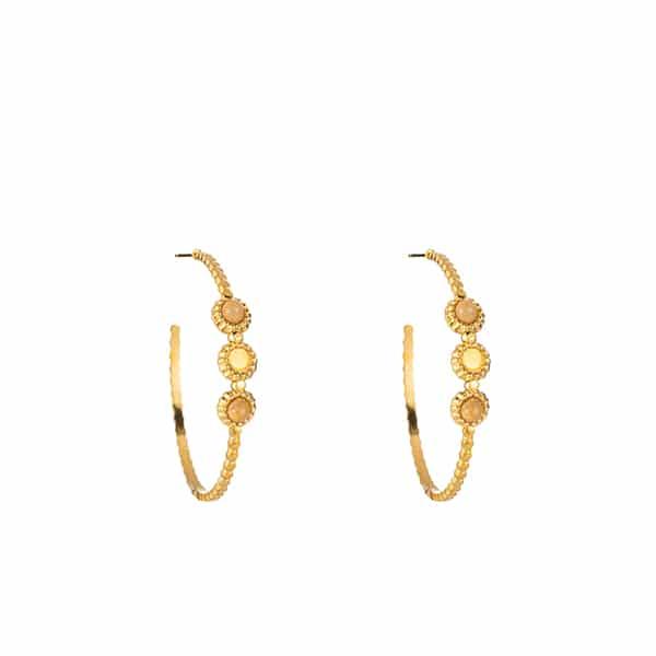 Made by Mila | Oorbellen hoops round pink stone goud - Go Dutch Label 1