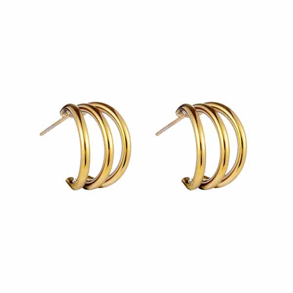 Made by Mila   Oorbellen steker drie ringen hoop goud - Go Dutch Label 1