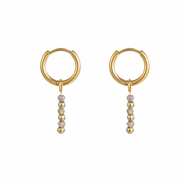 Made by Mila | Oorbellen hoops grey gold - Go Dutch Label 1