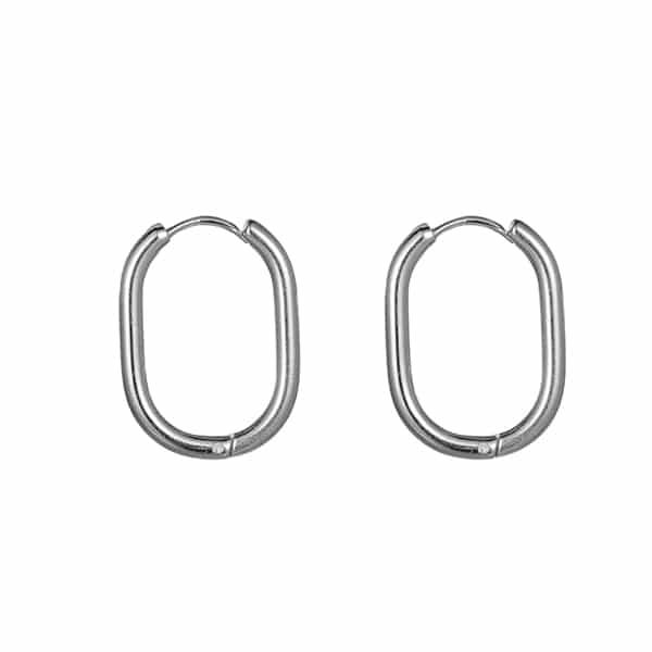 Made by Mila   Oorbellen ovale hoops zilver - Go Dutch Label 1