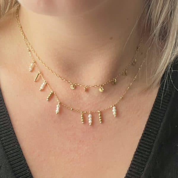 Made by Mila | Ketting schakel met hangertjes zilver en wit- Go Dutch Label 2